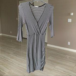 black and white mini wrap dress